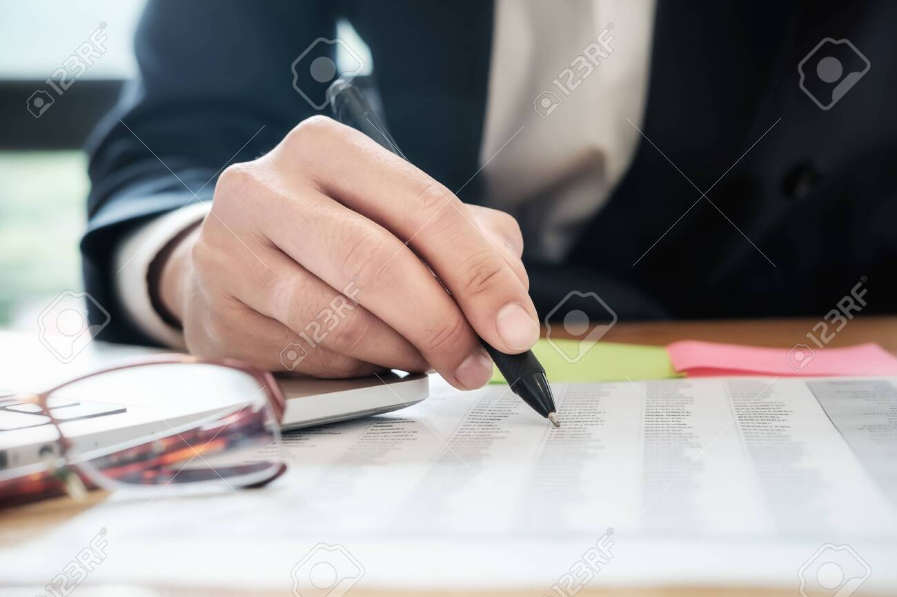 Business people meeting working with new startup project use post it notes to share idea discussion and analysis data charts and graphs.Business finances and accounting concept - 120448772