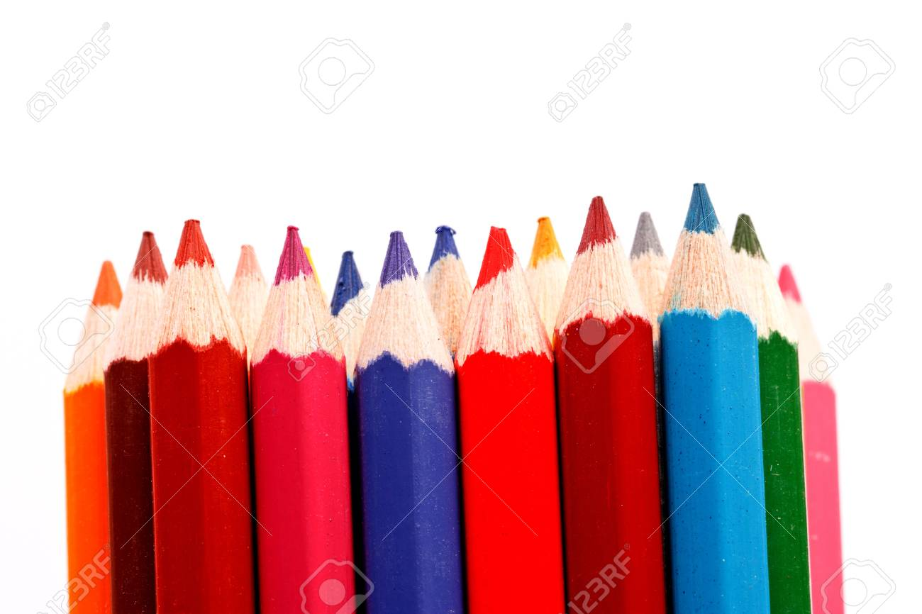 sharp of colorful crayon  on white Stock Photo - 16365123