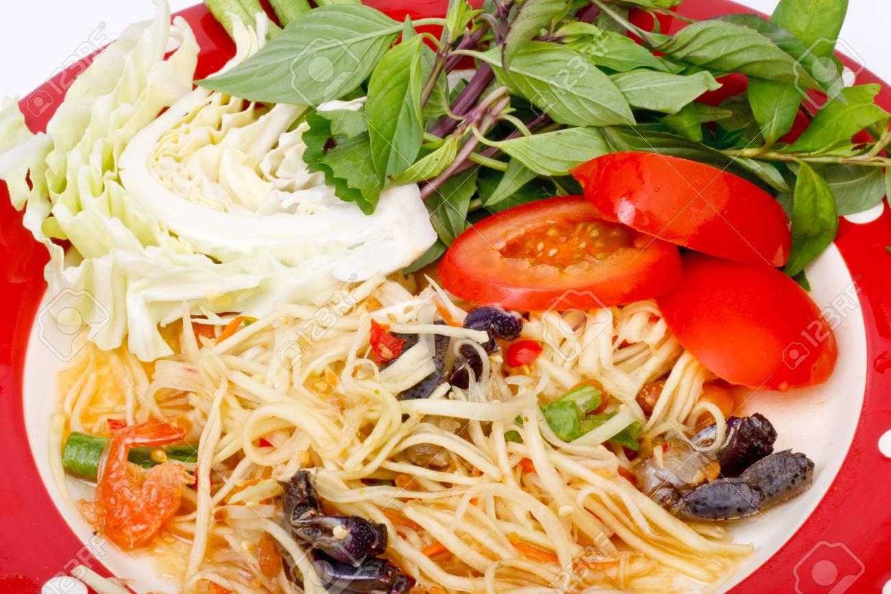 green papaya salad  tropical food of Thailand Stock Photo - 17344240