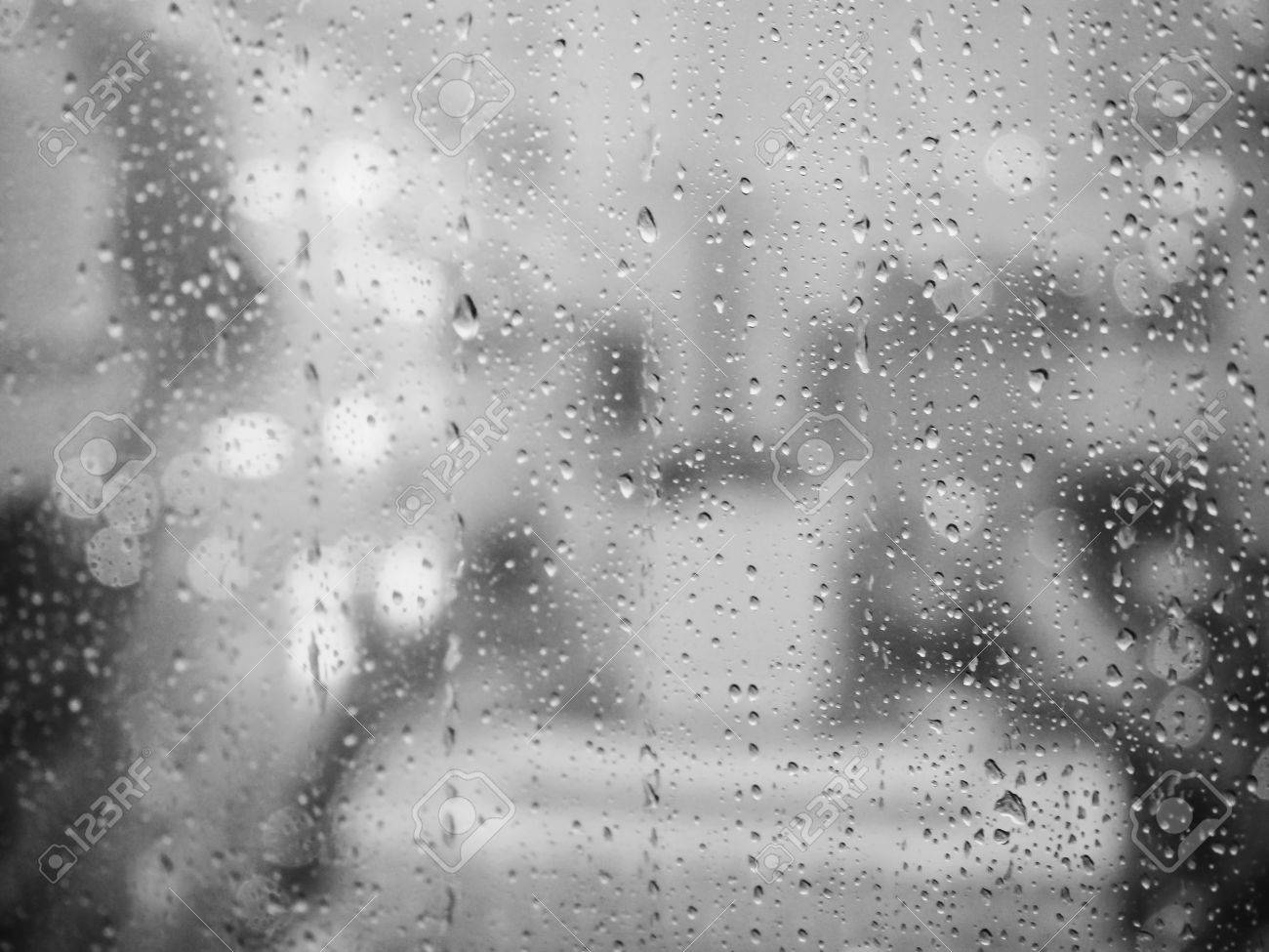 Rainy day black and white blur background