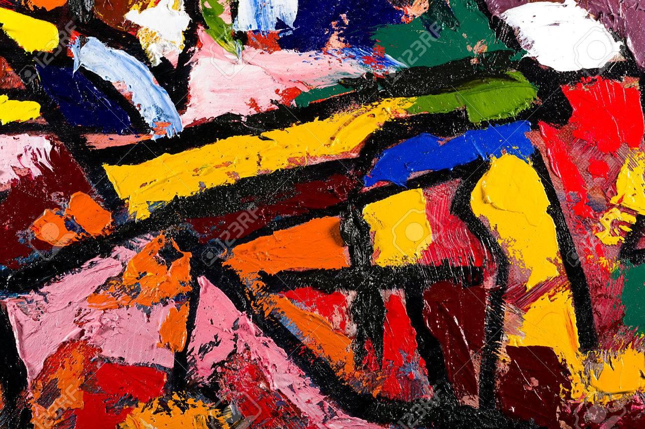 Fragmento De La Pintura Moderna Abstracta Aceite Espátula Sobre