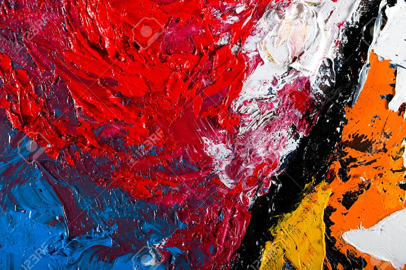 Abstract Wallpaper Oil Painting Background With Palette Knife Marks Stock Photo