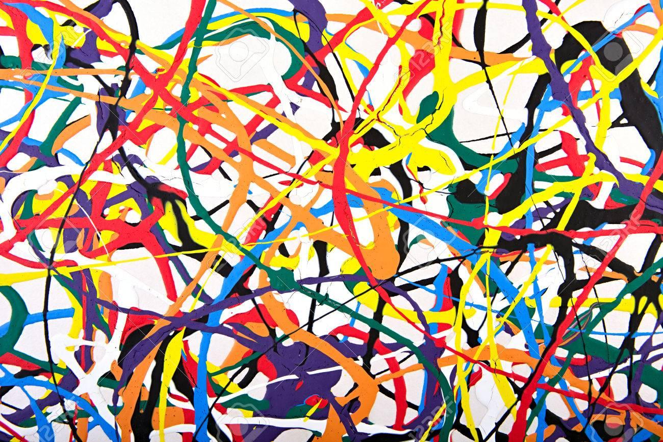 Abstrakte Acryl Modernen Malerei Fragment. Bunter Regenbogen ...