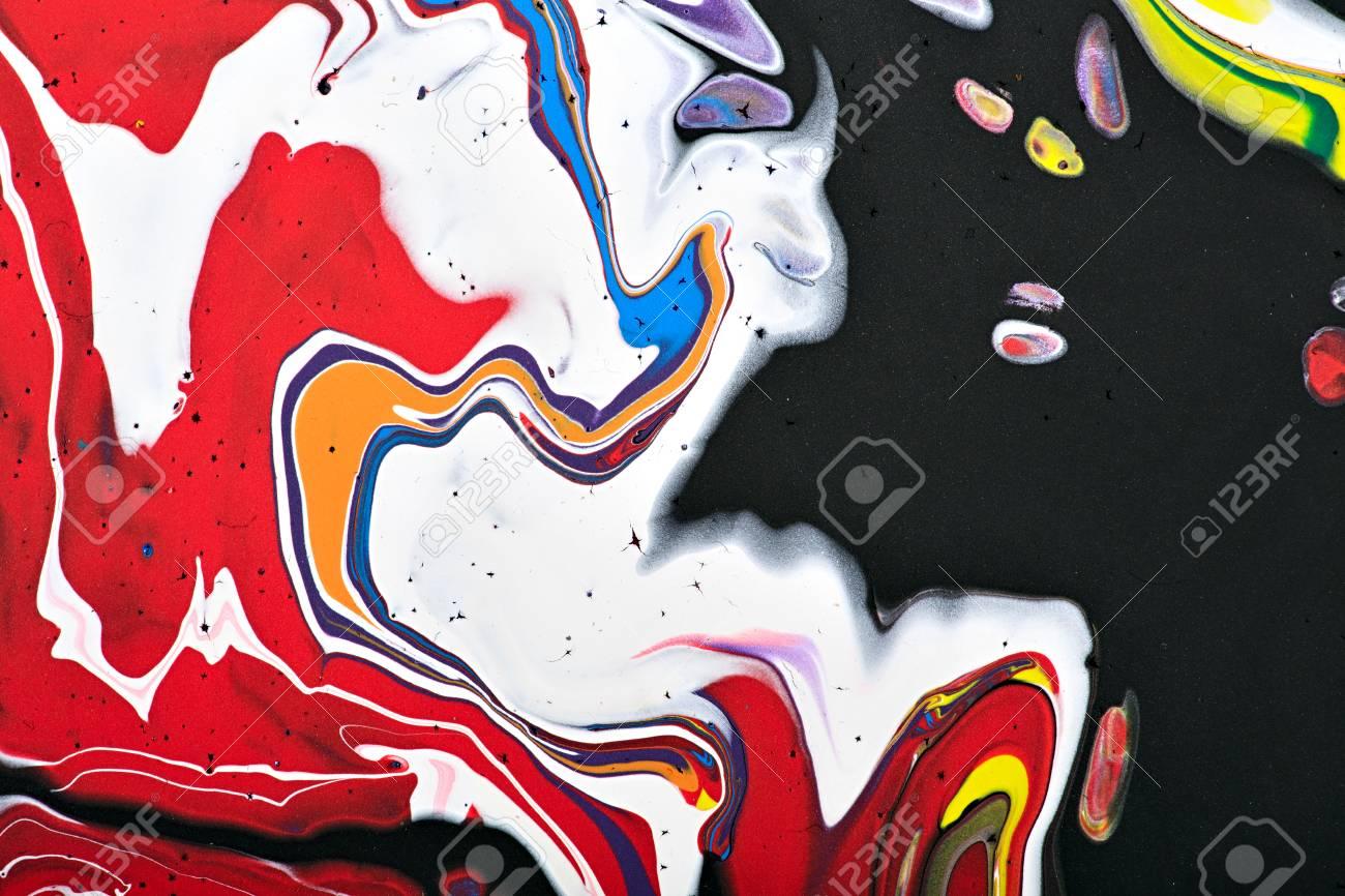 Abstraktes Acryl Modernes Malerei Fragment. Bunte Regenbogenflecken ...