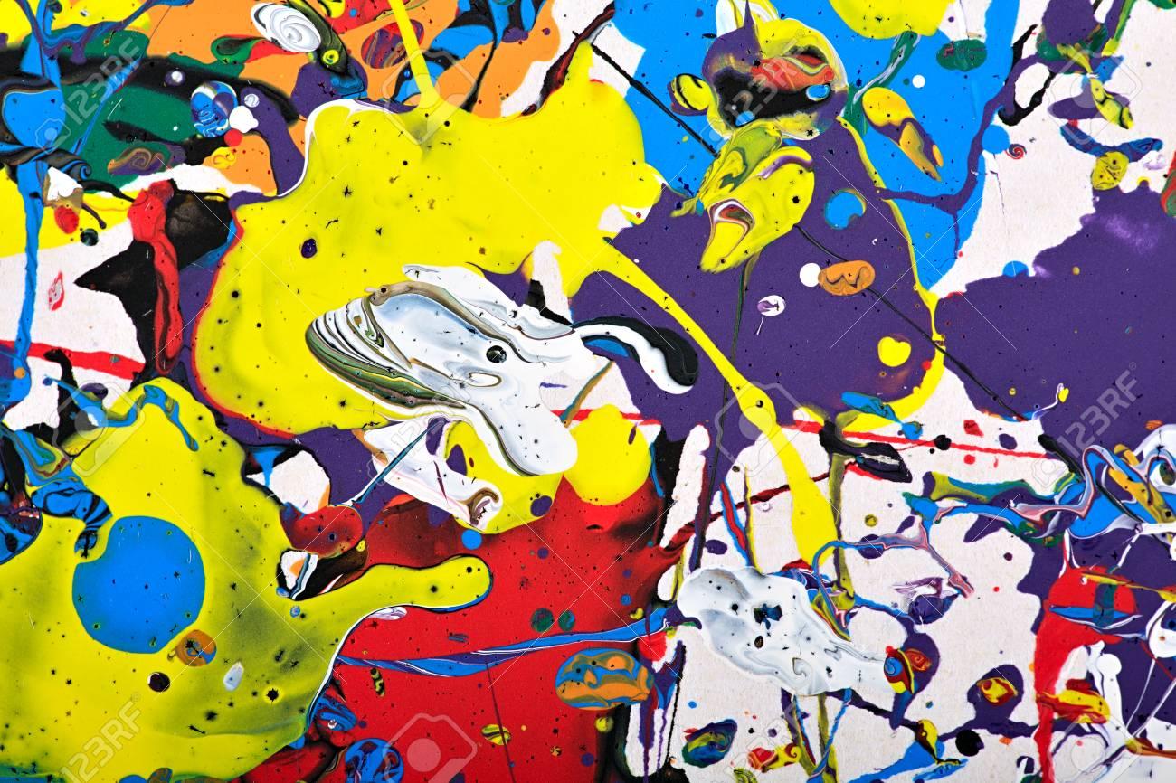 Abstrakte Acryl-moderne Malerei Fragment. Bunte Regenbogen Spritzt ...