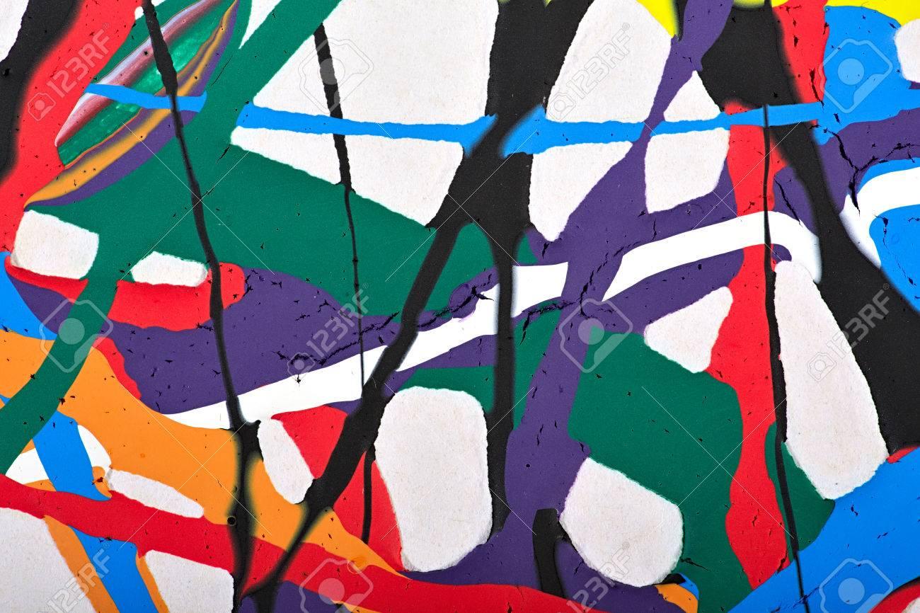 Abstrakte Acryl Moderne Malerei Fragment. Bunte Regenbogen Streifen ...