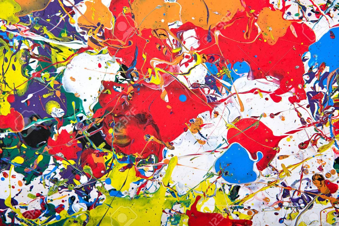 Abstrakte Acryl Modernen Malerei Fragment. Bunter Regenbogen Spritzt ...