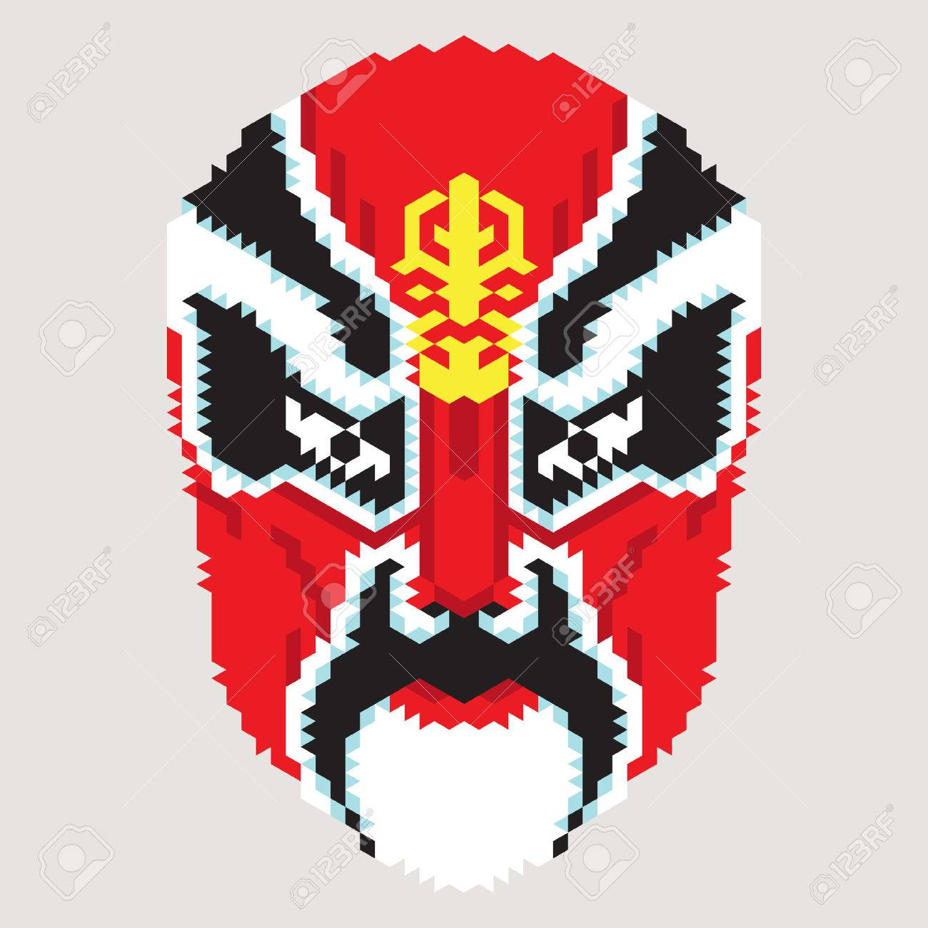 Geometric Chinese MaskVector Of Ancient Character From Peking Opera Stock Vector