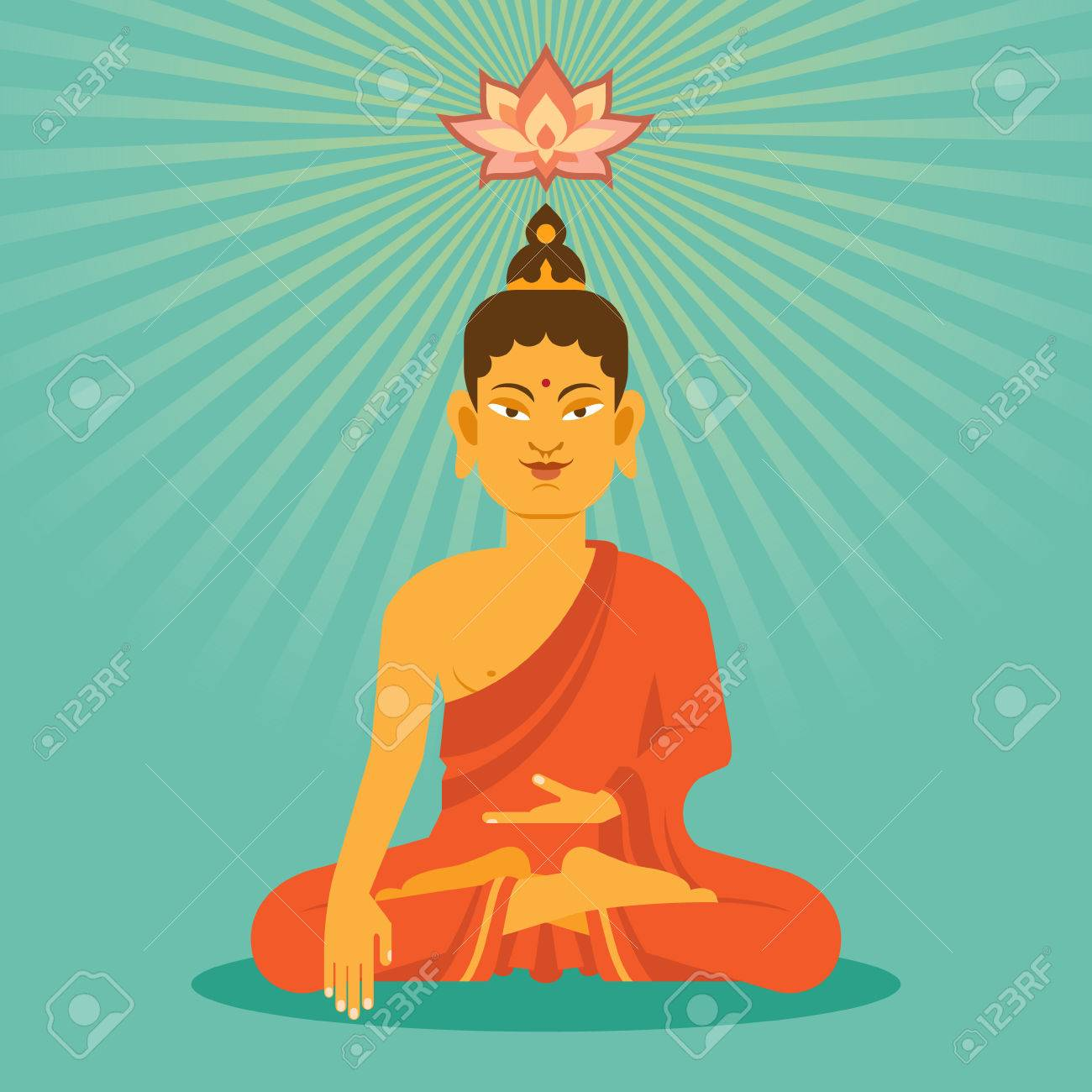 Sitting And Meditation Buddha With Lotus Flower In Flat Style