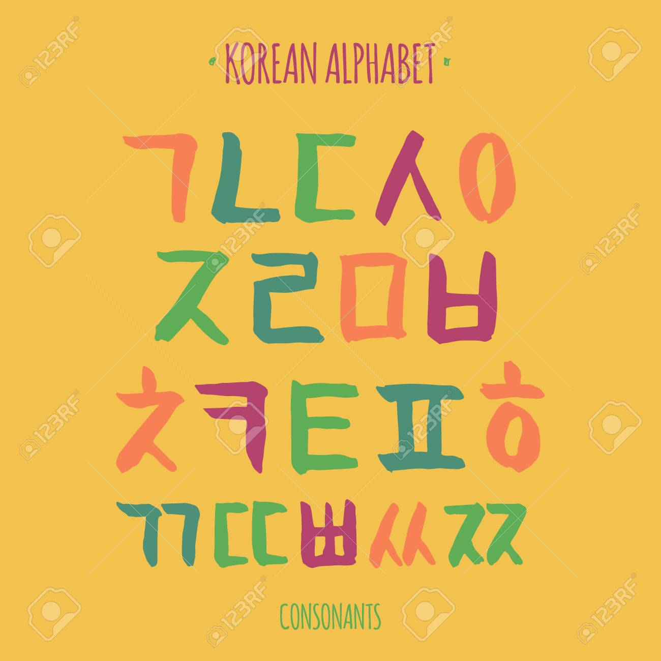 korean vector alphabet set hangul consonants in hand drawn style royalty free cliparts vectors and stock illustration image 59380373 korean vector alphabet set hangul consonants in hand drawn style