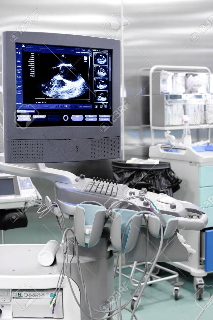 echo ultrasound machine with the image of heart stock photo