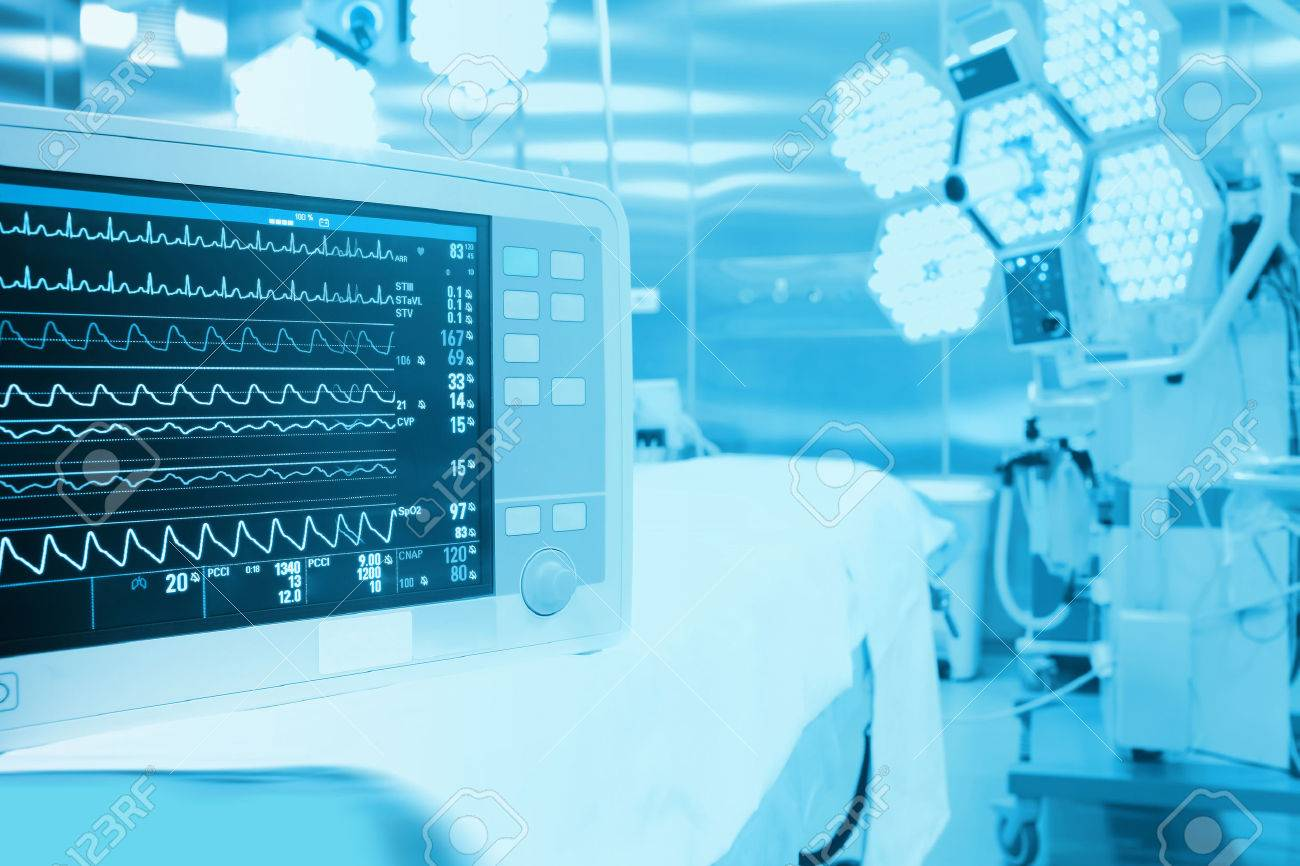 Monitoring of patient in surgical operating room in modern hospital Stock Photo - 40982665