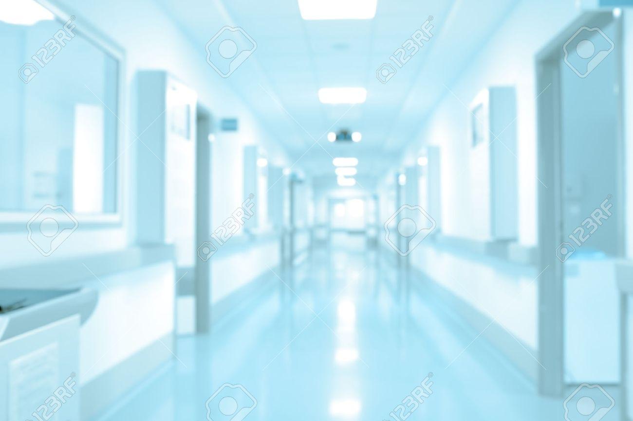 Long Hospital Hallway Background Unfocused Stock Photo