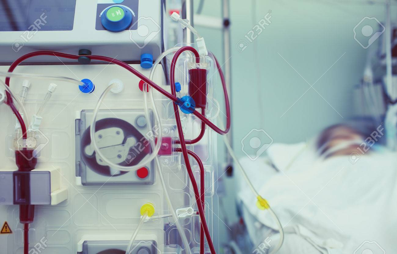 Haemodialysis machinery in work process. - 76794530