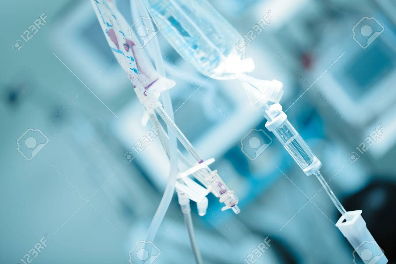 Medical solution bags on the background of ward. - 80748607