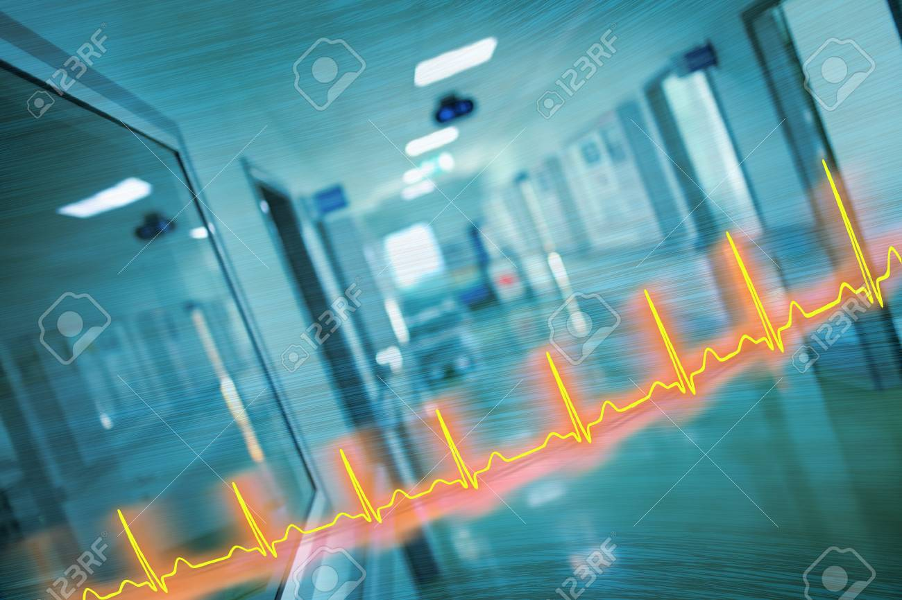 ECG line and hospital corridor, concept, of an emergency care. - 88024137