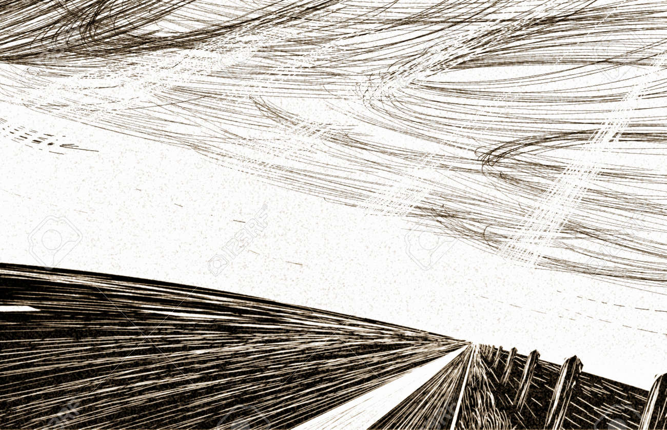 Abstract drawings in the style of pen graphics. Vector stylized antique background - 166394583
