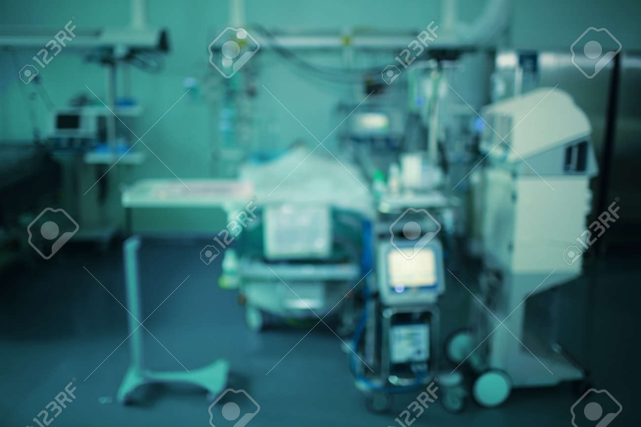 Blurry background of equipment around the patient in the ICU. - 166952882
