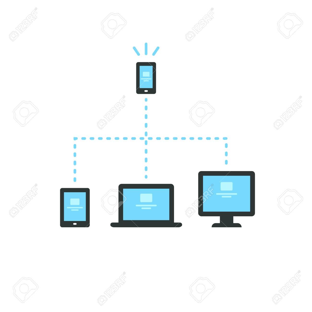 Verbunden Elektronische Geräte (Smartphone, Tablet, Laptop Und ...