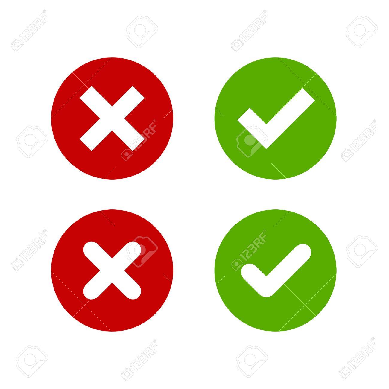 Ein Satz Von Vier Einfachen Web-Buttons: Grünes Häkchen Und Rotes ... | {Rotes kreuz symbol 59}