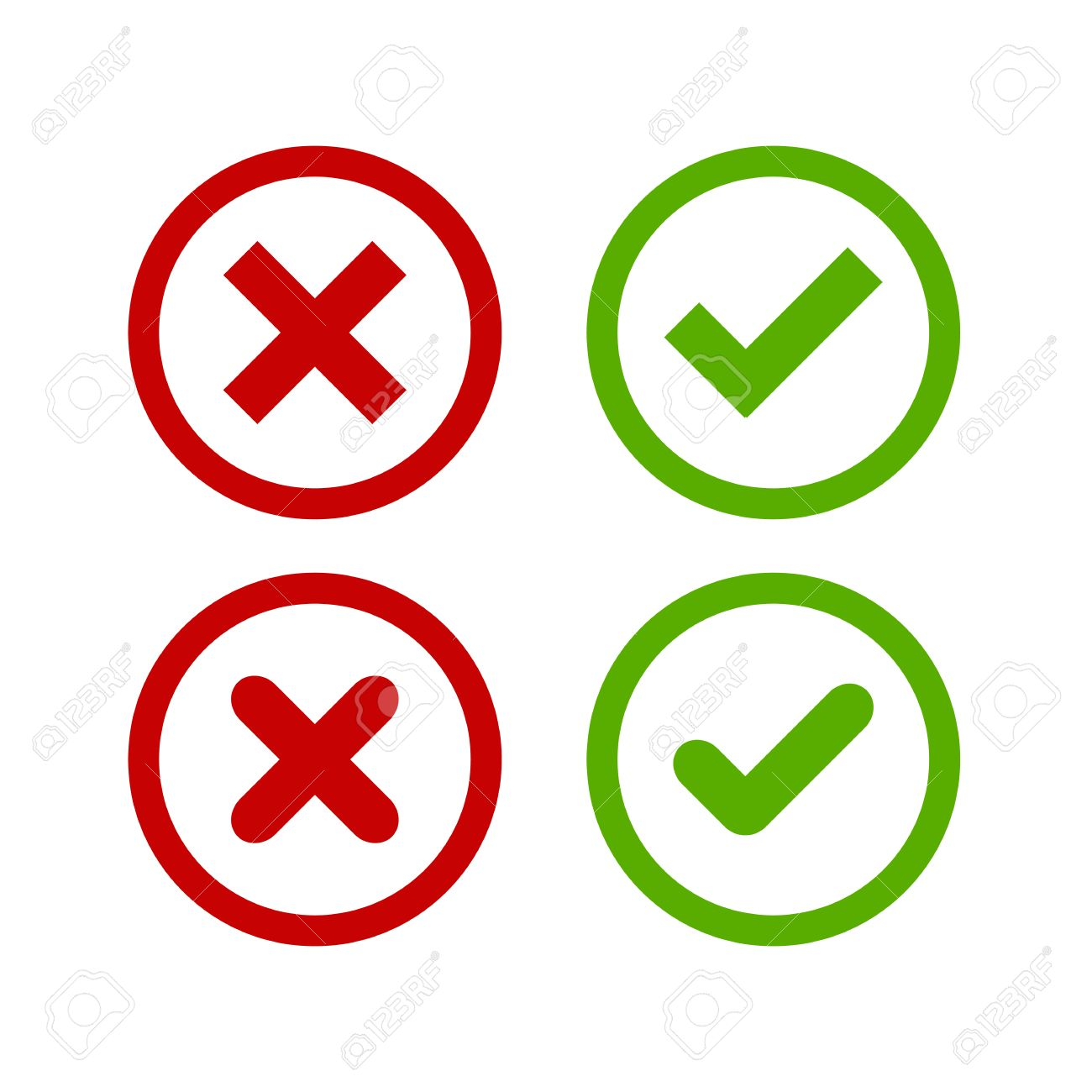 A set of four simple web buttons: green check mark and red cross in two variants (square and rounded corners). - 41489276