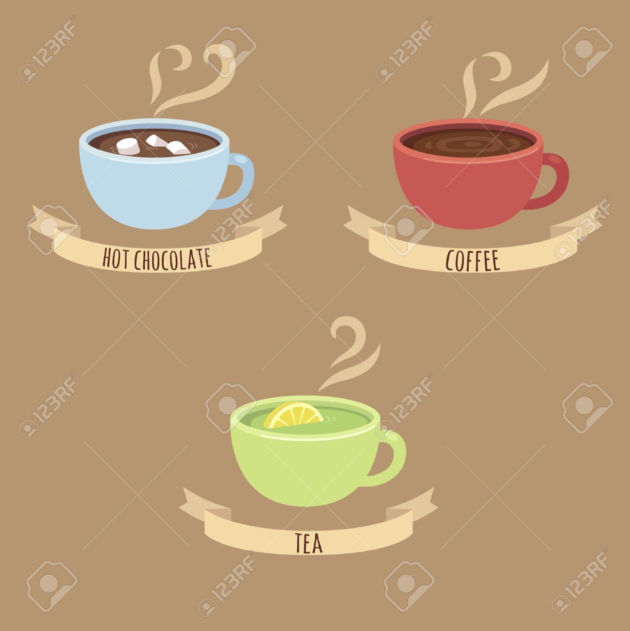 Drei Dampfende Heißgetränk Tassen: Heiße Schokolade Kaffee Und Grüner Tee  Mit Beschriftungen Auf Bändern. Lizenzfrei Nutzbare Vektorgrafiken, Clip  Arts, Illustrationen. Image 41794496.