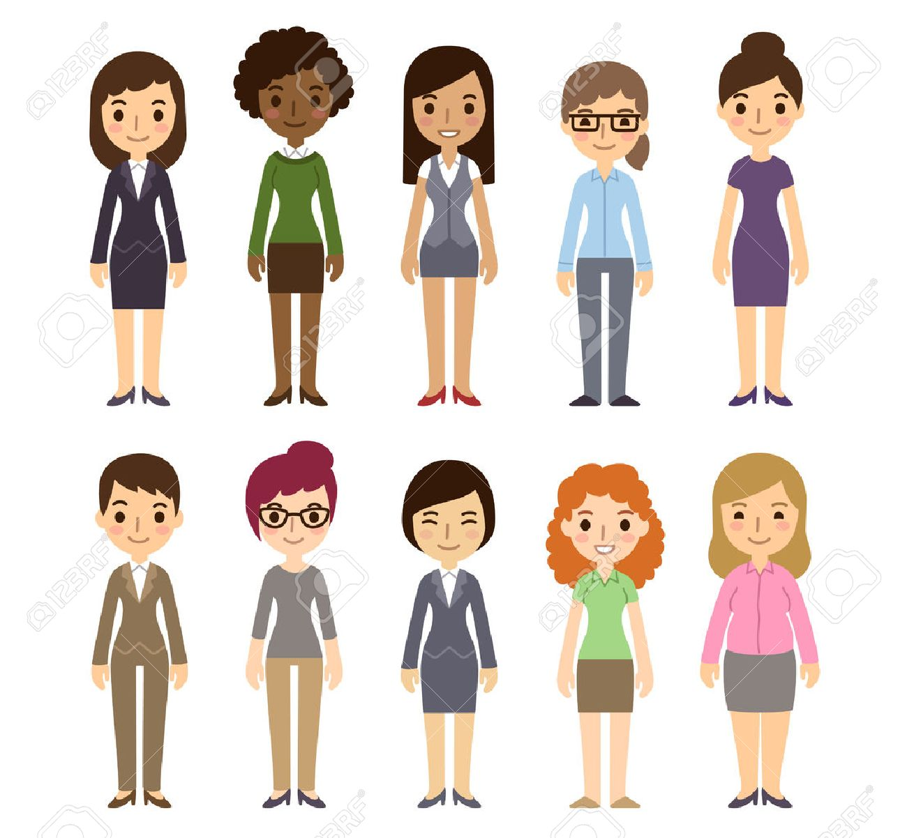 Set of diverse businesswomen isolated on white background. Different nationalities and dress styles. Cute and simple flat cartoon style. - 42186945