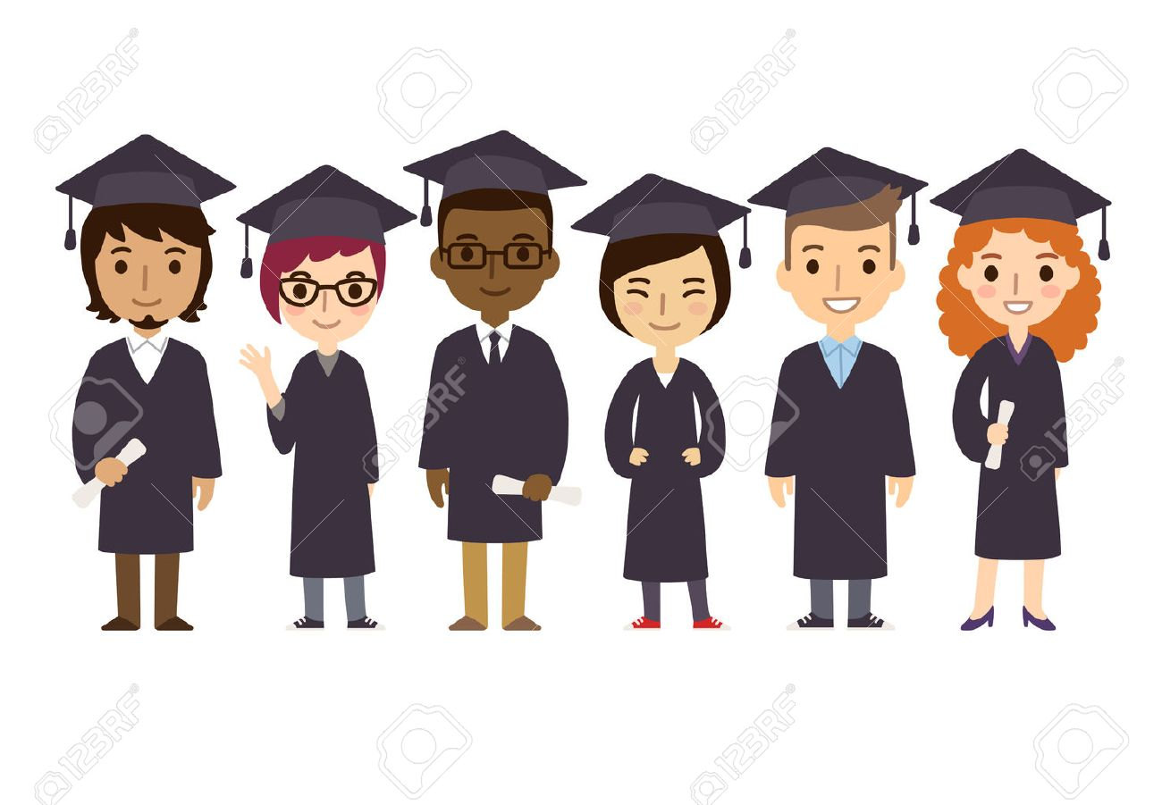 Set of diverse college or university graduation students with diplomas isolated on white background. Cute and simple flat cartoon style. - 42186959