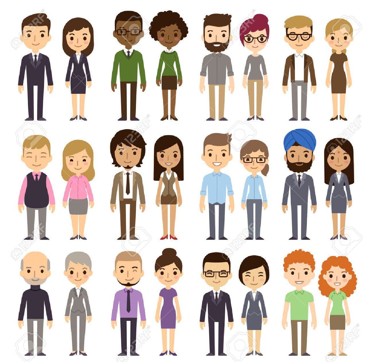 Set of diverse business people isolated on white background. Different nationalities and dress styles. Cute and simple flat cartoon style. Stock Vector - 42186963