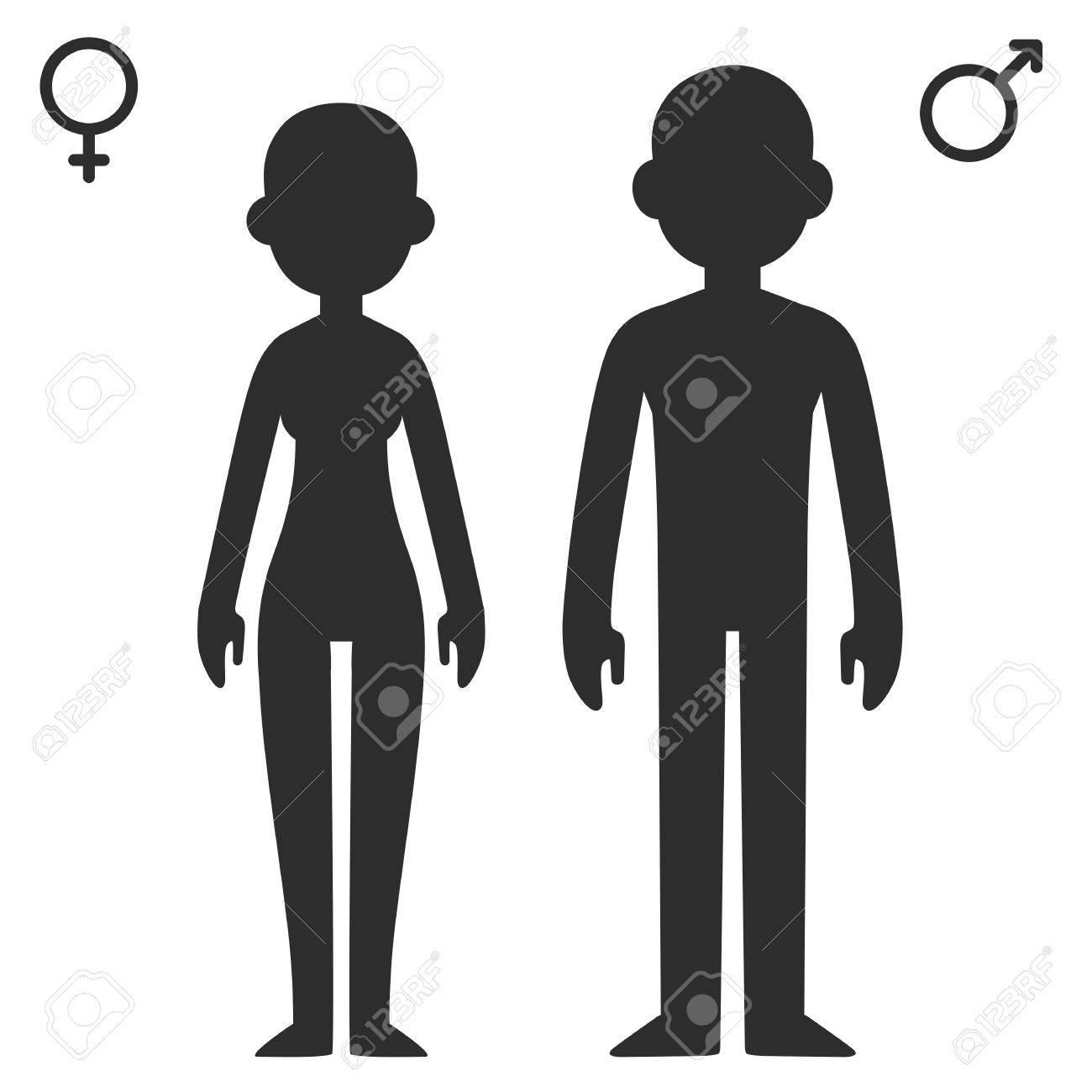 Stylized cartoon male and female silhouettes with corresponding stylized cartoon male and female silhouettes with corresponding gender symbols stock vector 42557231 buycottarizona Choice Image