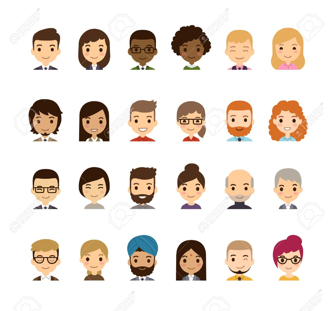 Set Of Diverse Avatars Different Nationalities Clothes And Royalty Free Cliparts Vectors And Stock Illustration Image 42557251