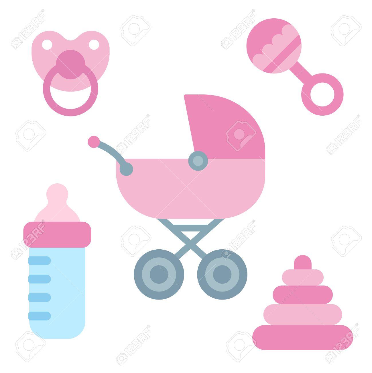 Dibujos animados artículos lindo bebé recién nacido en el color rosado femenino: cochecito, pacificador, botella de leche y juguetes. Bebé elementos