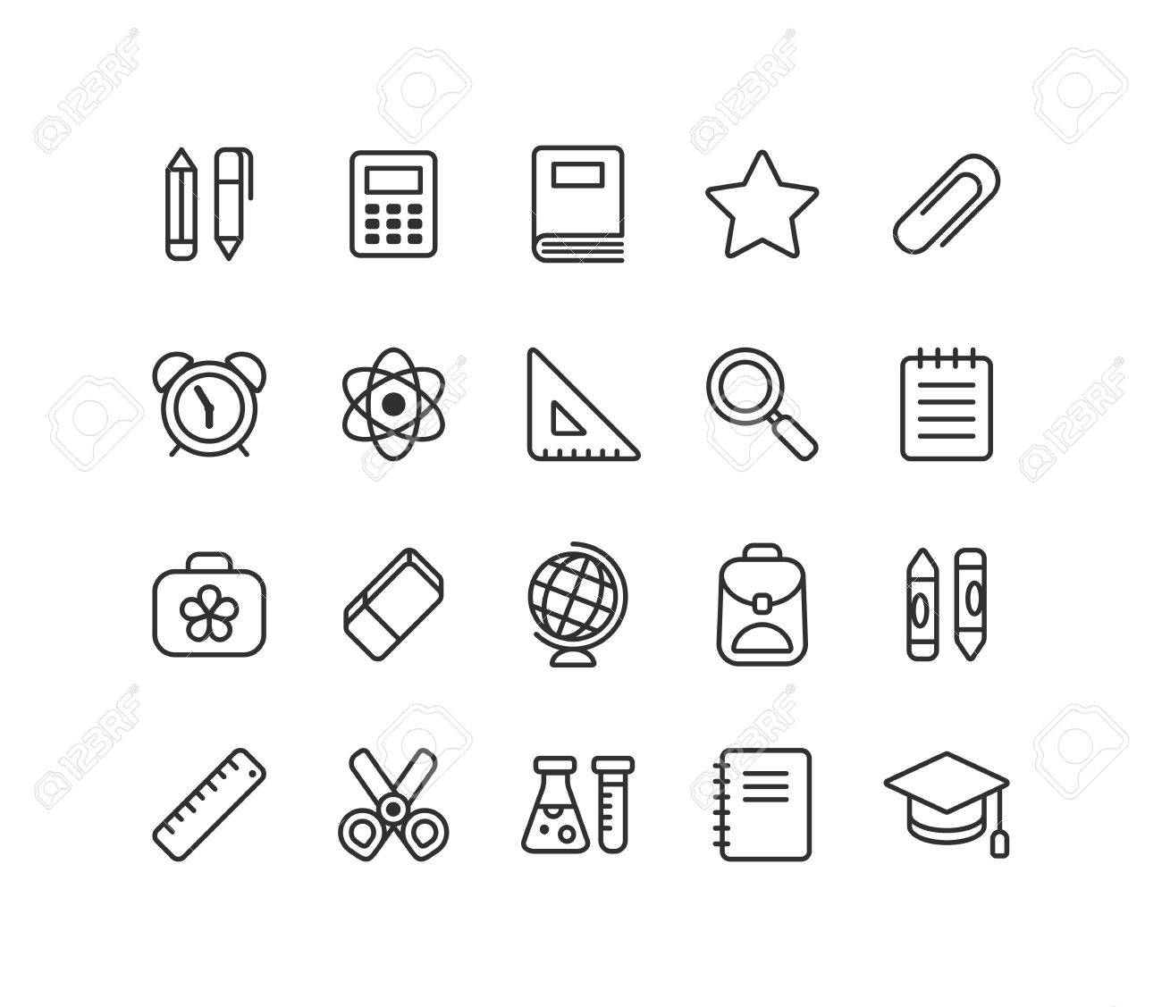Set Of School And Education Line Icons Stationery Learning