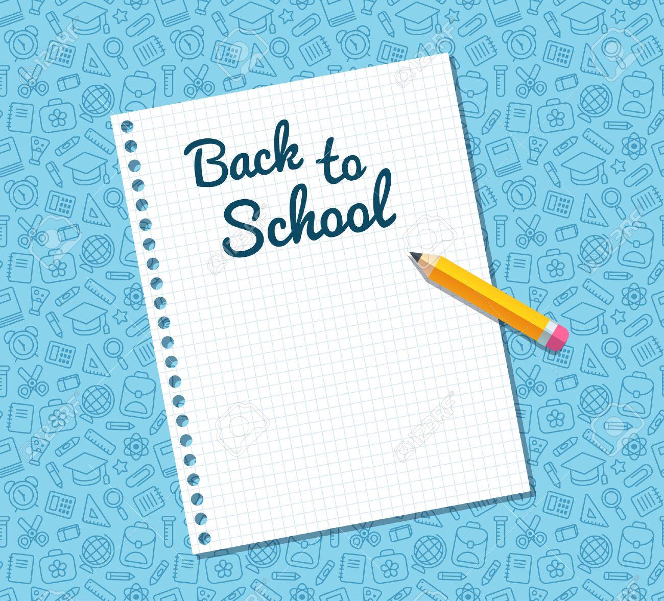 Zurück In Der Schule Text Auf Blatt Liniertes Notebook Papier Und ...
