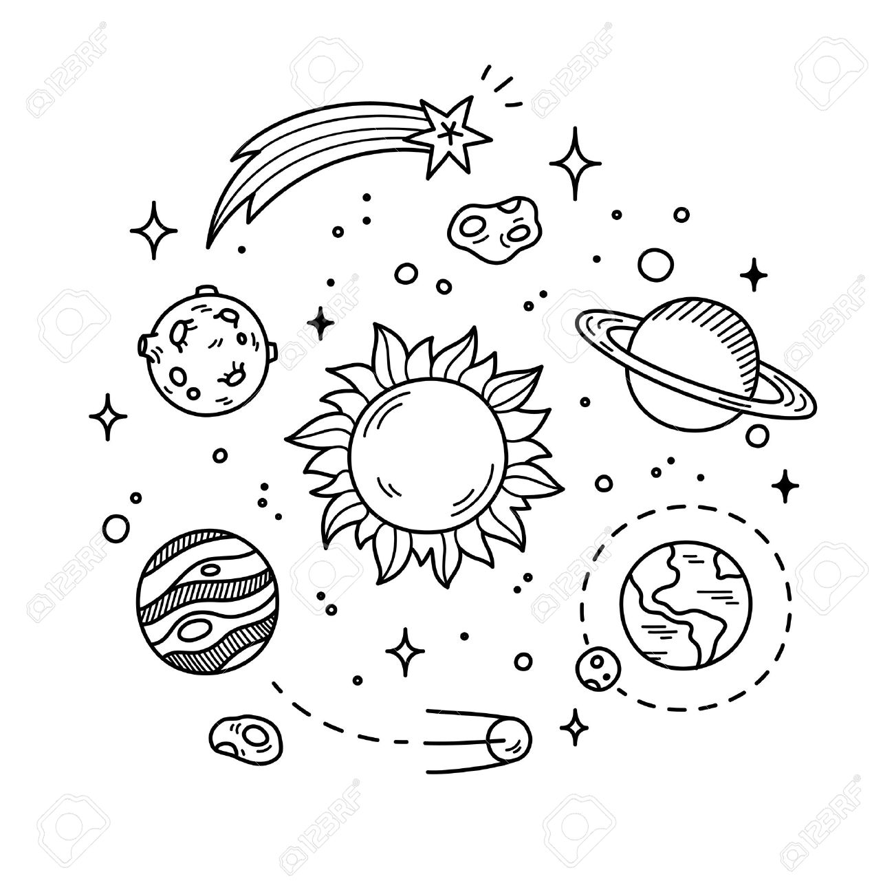 Hand Drawn Solar System With Sun Planets Asteroids And Other Outer Space Objects