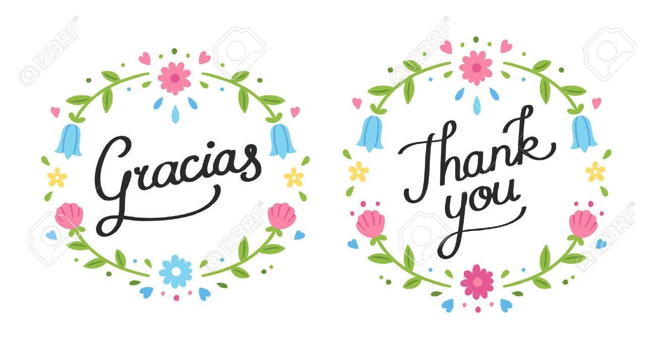 handschriftliche dekorative danke banner in englisch und spanisch, Einladung