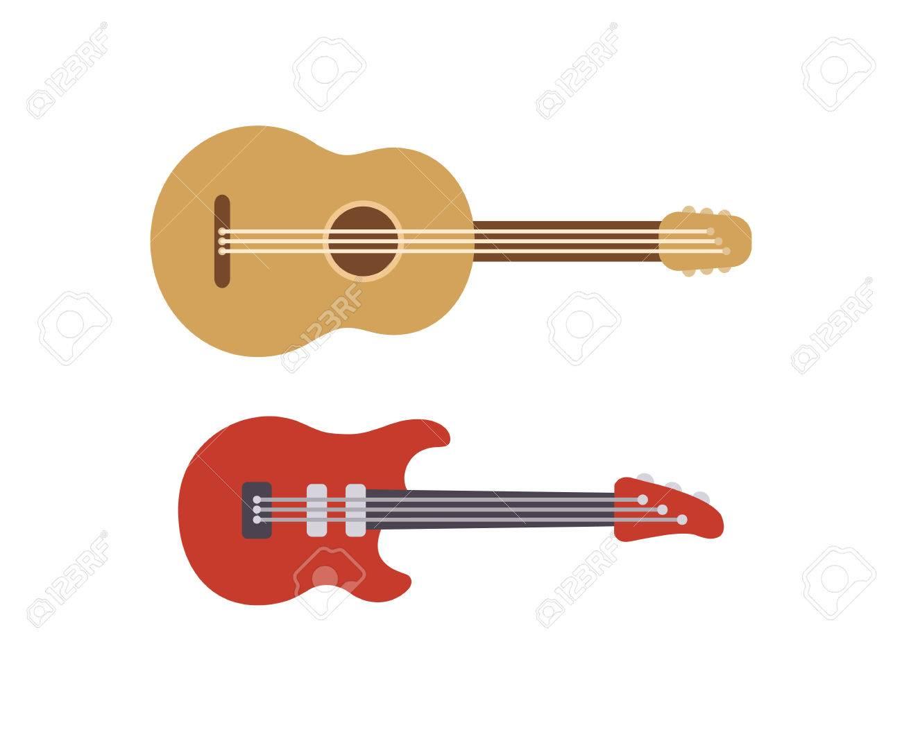 Dos Guitarras Estilizadas Planos: Eléctrica Acústica Y Clásica ...