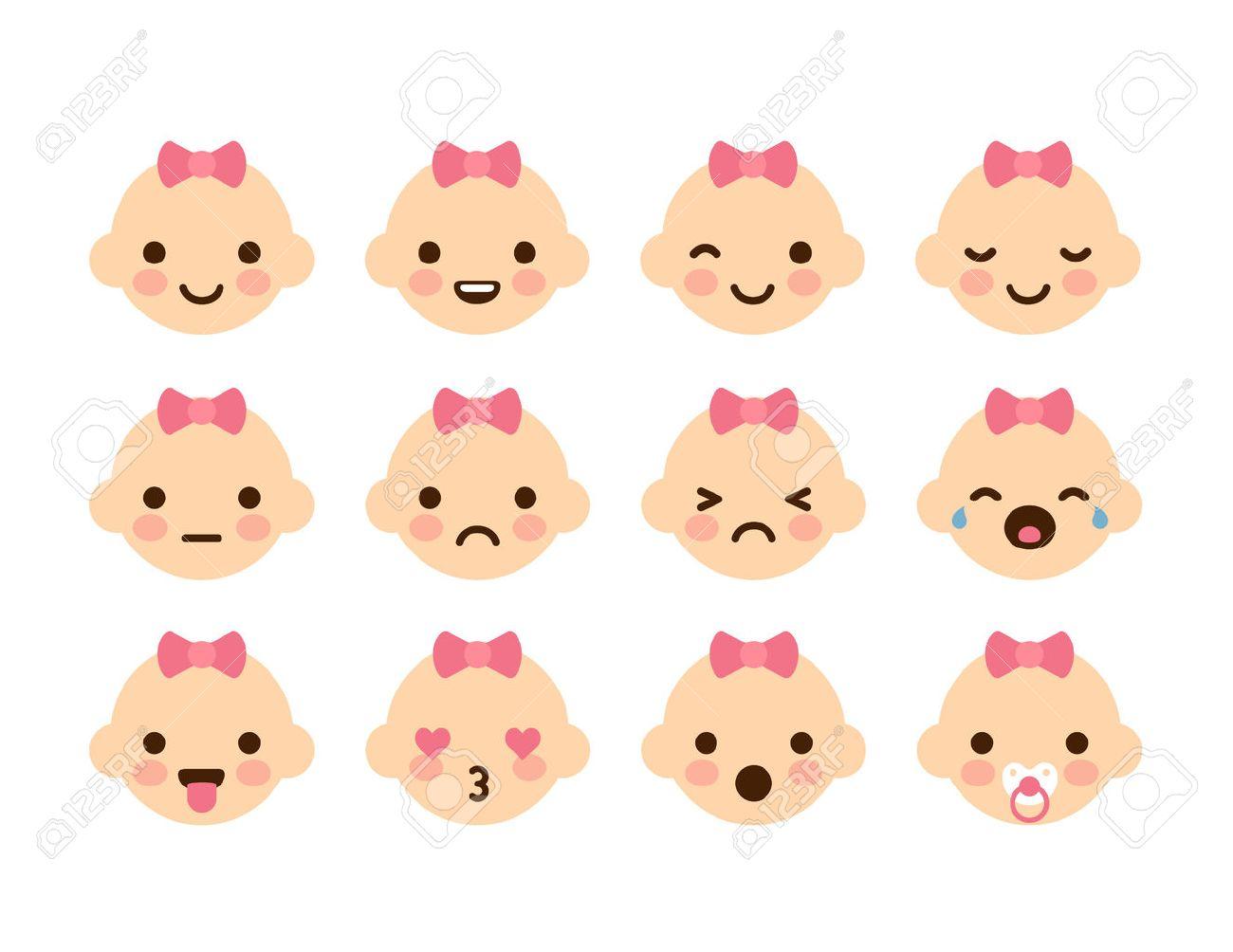 Ensemble De 12 émoticônes De Bébé Mignon Très Simple Mais