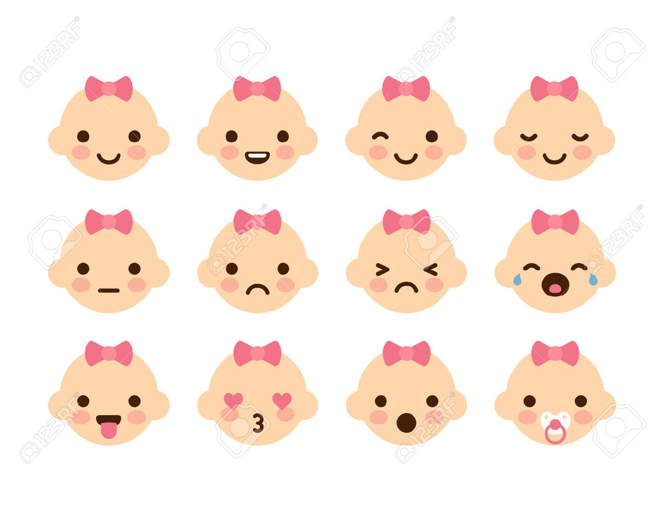 Set of 12 cute baby emoticons very simple but expressive cartoon baby girl faces with