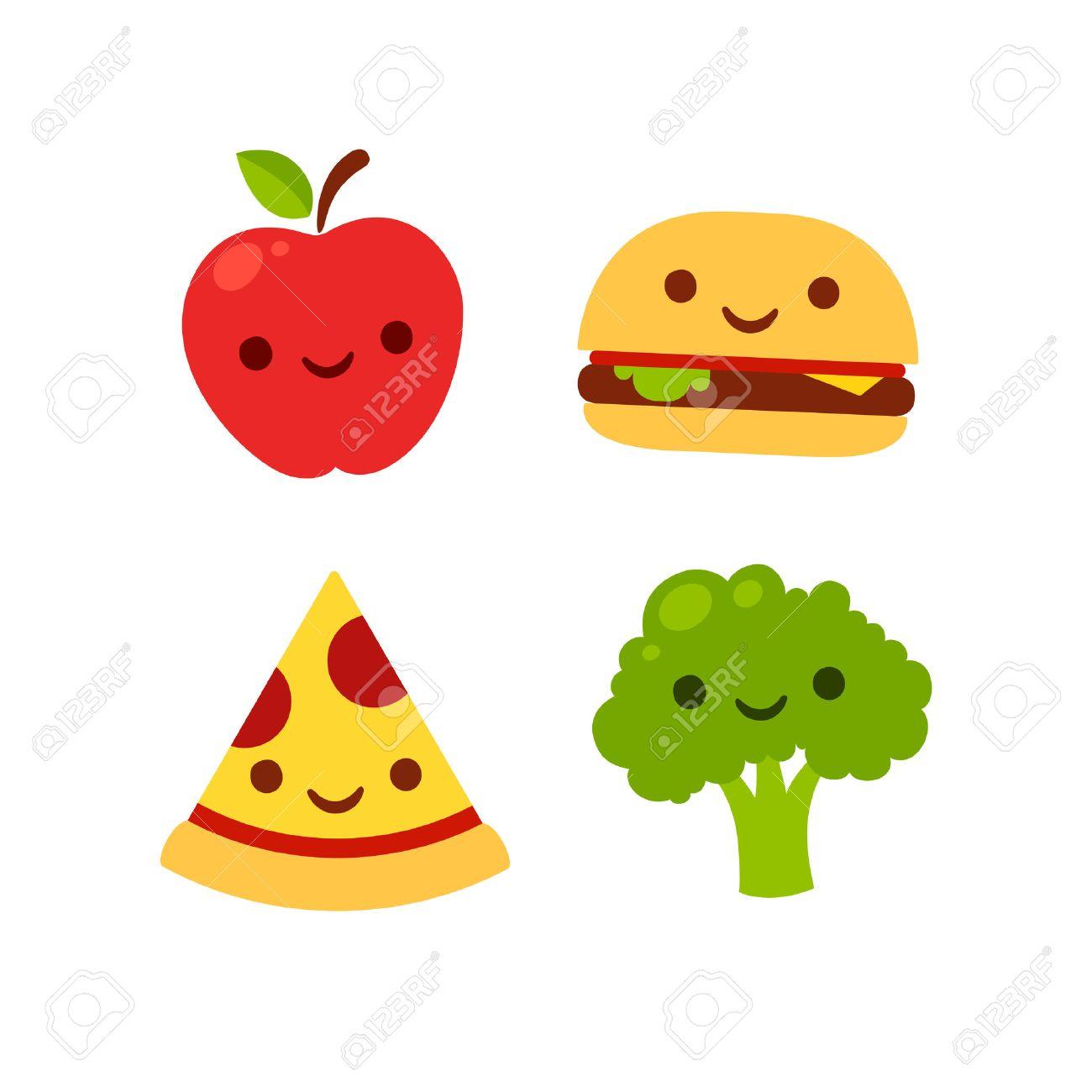 Iconos De Dibujos Animados Lindo Con Las Caras Sonrientes Manzana