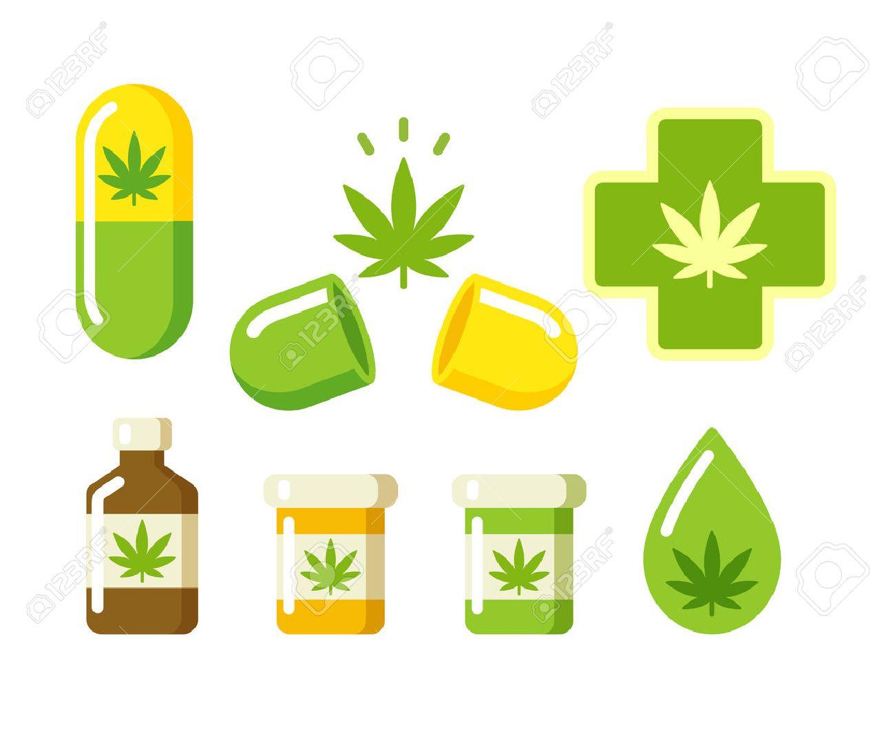 Medical Marijuana Icons Pills Rx Bottles And Other Medicinal