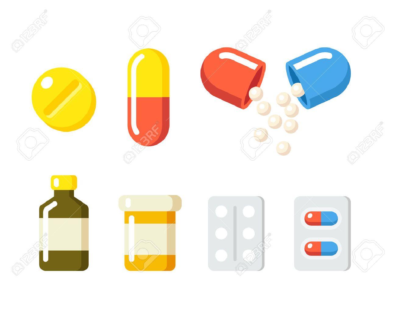 drugs icons pills capsules ans prescription bottles medicine rh 123rf com Doctor Prescribing Medication Vector Vector Happy Patient