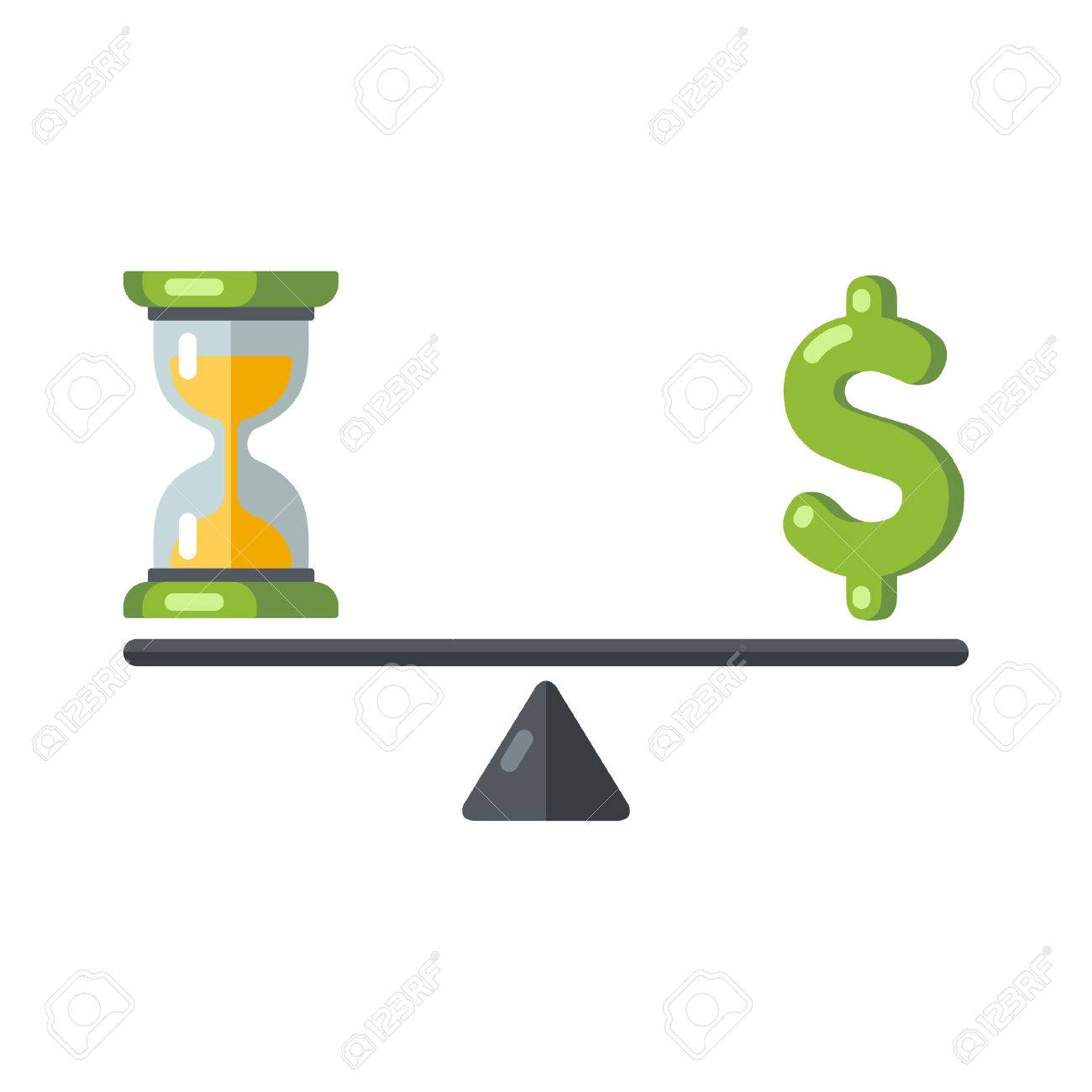 Time is money concept hourglass and money symbols on balance hourglass and money symbols on balance scale vector illustration biocorpaavc Images