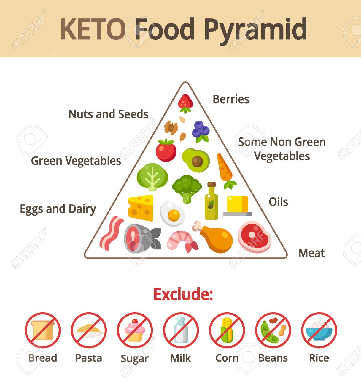 Keto Lebensmittel Pyramide Diagramm Ernahrung Und Diat Infografiken
