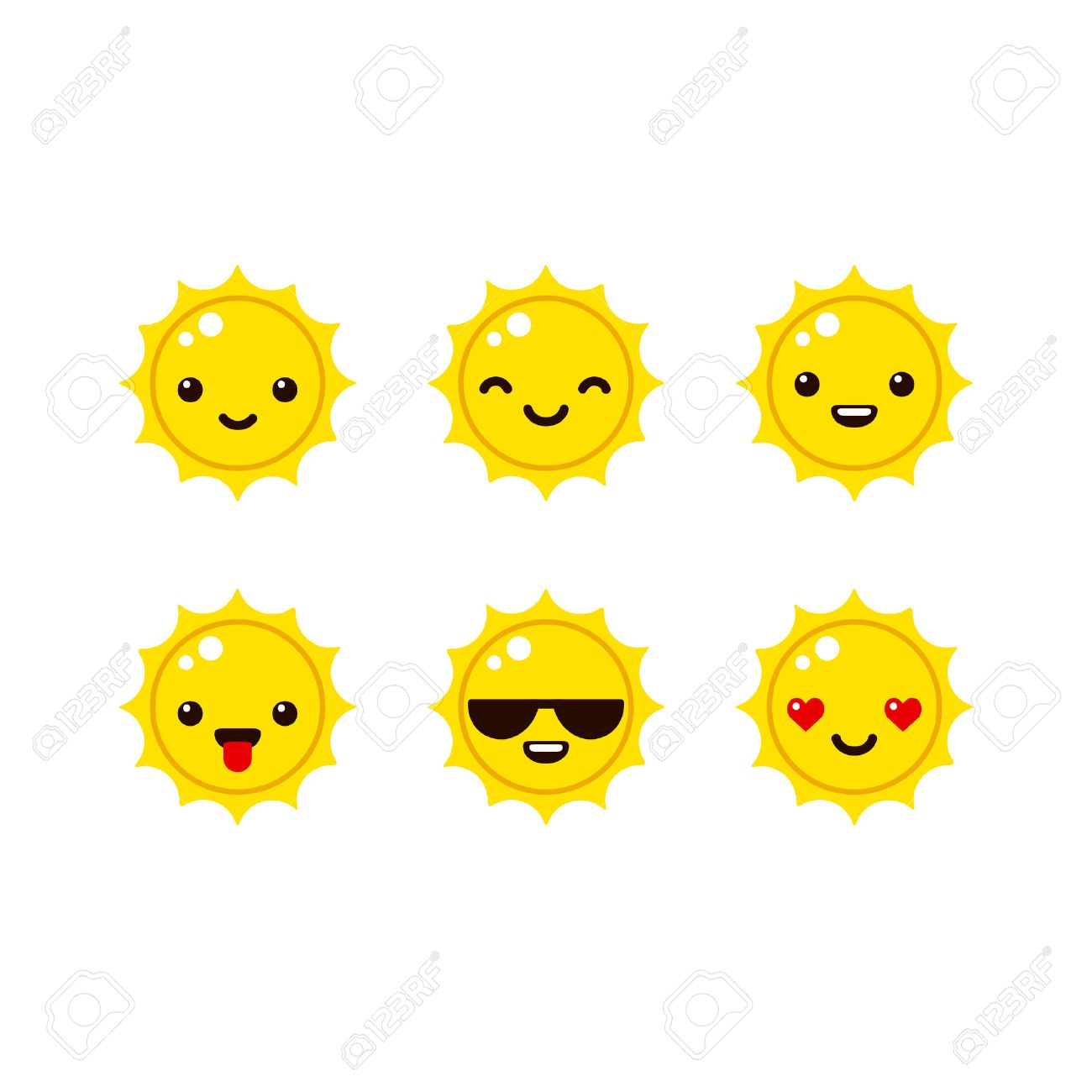cute sun emoticons in modern vector style. cartoon smiley icons