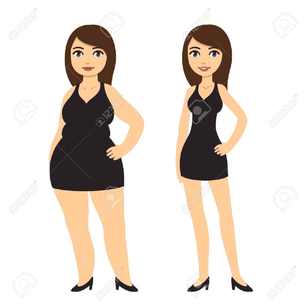 Cartoon Woman In Black Dress Skinny And Overweight Weight Loss Royalty Free Cliparts Vectors And Stock Illustration Image 46648063