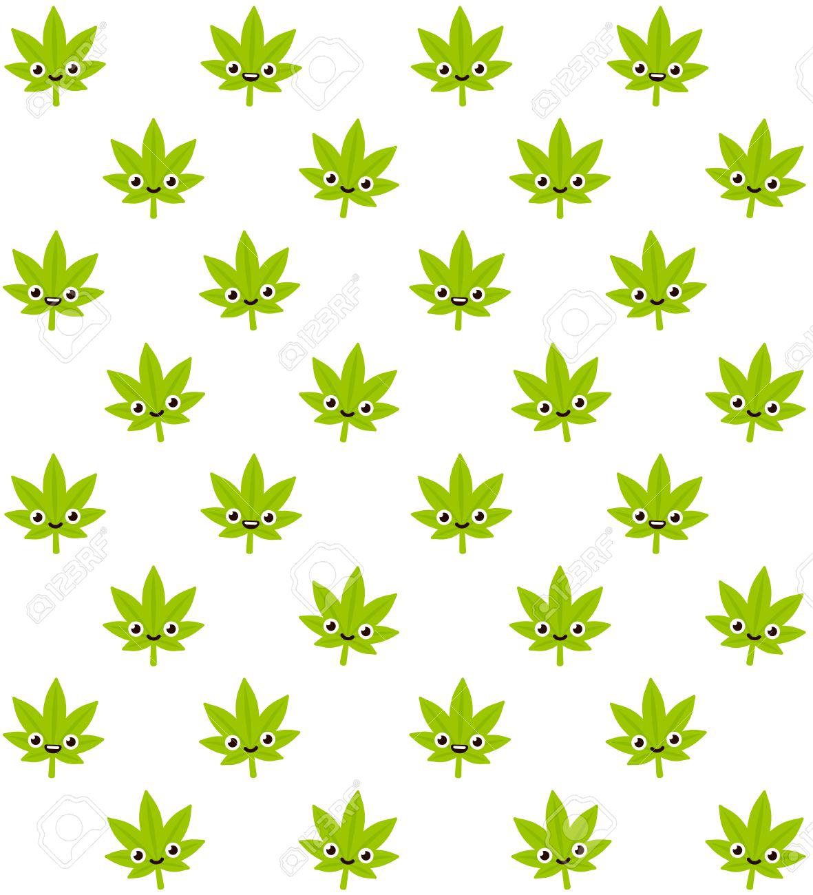 cartoon smiling cannabis plant seamless pattern cute stylized