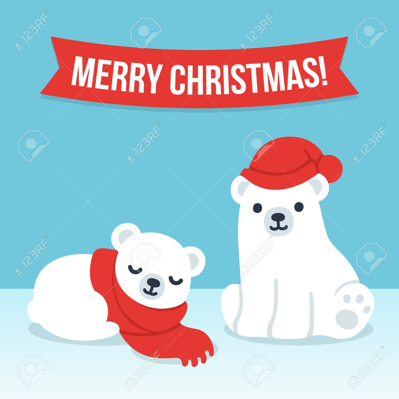 cute cartoon polar bear cubs in winter hat and scarf with merry