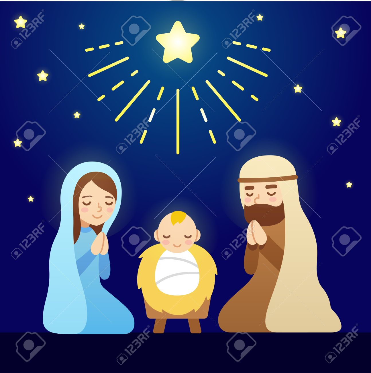 Christmas Nativity.Christmas Nativity Scene With Baby Jesus Mary And Joseph Under