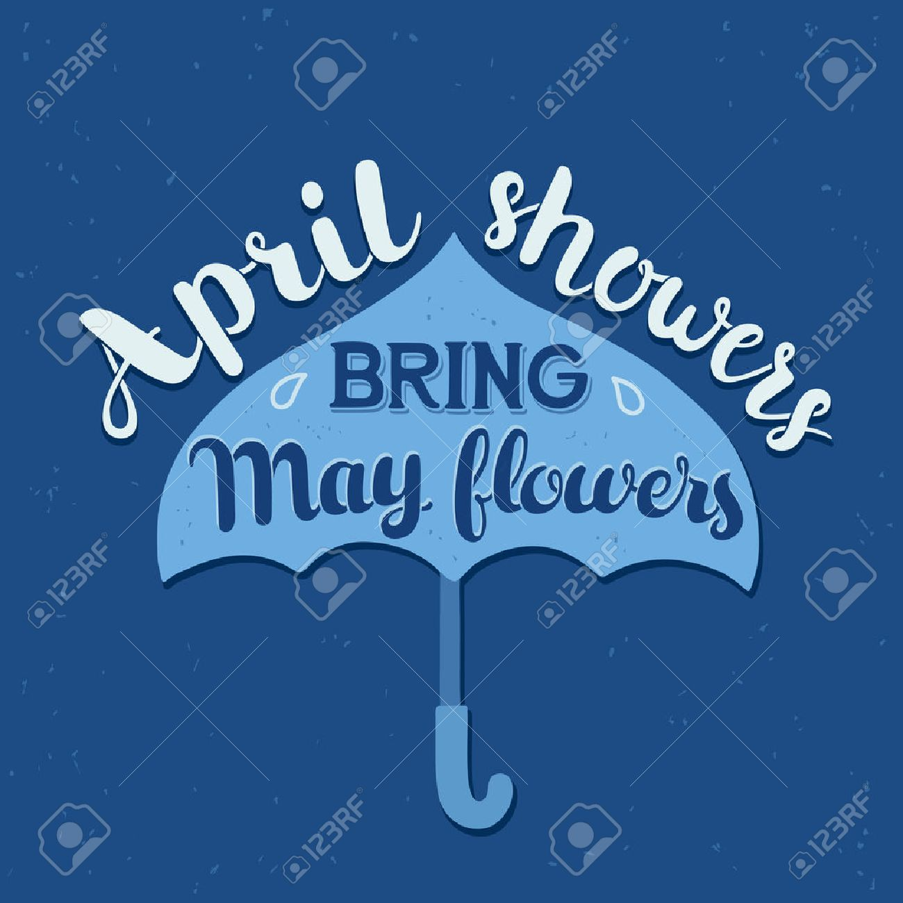 Hand drawn calligraphy lettering poster: motivation quote April Showers Bring May Flowers with umbrella. Typography vector illustration. - 48219202